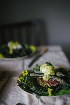 asparagus benedict on quinoa nettle cakes with lovage and mint aioli | {local milk}