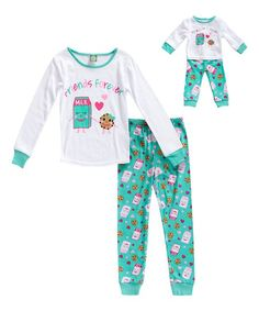 Dollie   Me Ivory   Mint  Friends  Pajama Set   Doll Outfit - Toddler    Girls 68b6b1e65