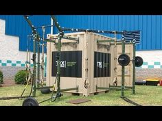 A New concept for fitness to be used with our Military personnel overseas. This is a training box that comes with everything needed inside a freight containe. Trx Gym, Crossfit Home Gym, Diy Home Gym, Gym Room At Home, Backyard Jungle Gym, Outdoor Gym Equipment, Home Gym Design, Garage Gym, Gym Style