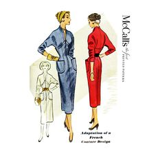 McCalls 9259 Vintage Dress Pattern 1953© Bust 30 Misses Dress - Adaptation of a French Couture Design: Dart fitted sheath dress with high shaped waistline has front zipper closure and patch pockets. Yoked bodice and long or three-quarter length push-up kimono sleeves are cut in one with high standing neckline with deep V plunge in front and shaped at back of neck. Saddle stitch trim.    This is the original vintage pattern, not a reproduction copy or PDF. Photos are of the actual pattern you…