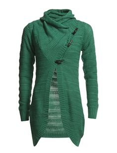 Weather like we're having now...grey, drizzly, cold...make me covet warm snuggly sweaters like this one.  And who doesn't love green.