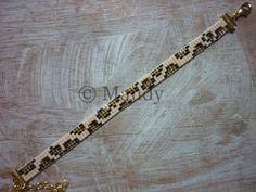 Bracelet perles Miyuki bracelet léopard brun beige or Leopard