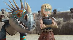 Astrid and Stormfly in Dawn of the Dragon Racers for Dragon Racing. Still haven't seen it.
