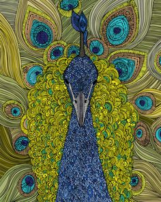 """Pavo Real"""" by Valentina. Look how intricate the detail is on this peacock! Valentina is one of my favorite artists. Popular Art, Arte Popular, Canvas Wall Art, Canvas Prints, Art Prints, Canvas Frame, Frida Art, Kunst Poster, Inspiration Art"""