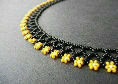 Sage's Cupboard Handmade Egyptian Jewelry and Tribal Beadwork - Bumblebee Floral Mini Collar. Black and Yellow Handmade Beaded Daisy N -The Sage's Cupboard Handmade Egyptian Jewelry and Tribal Beadwork - Bumblebee Floral Mini Collar. Black and Yellow H. Seed Bead Necklace, Seed Bead Bracelets, Bead Earrings, Daisy Necklace, Floral Necklace, Black Necklace, Bead Jewellery, Seed Bead Jewelry, Jewelery