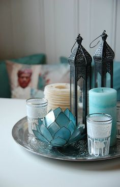 With rattan plate , lantern, lotus candle holder, candles Bohemian Decor/Boho Chic Decor/Global Decor/Gypsy Decor Moroccan Home Decor, Moroccan Design, Indian Home Decor, Moroccan Style, Moroccan Living Rooms, Indian Decoration, Moroccan Theme, Moroccan Lanterns, Lotus Candle Holder