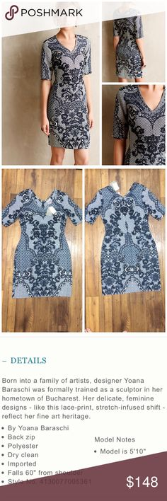"""MAKE OFFER - NWT Anthropologie Sketched Lace Dress NWT Anthro Sketched Lace Dress  Size 6  100% Polyester  Chest: approx 18"""" Waist: approx 15"""" Length: approx 37"""" (shoulder to hem) Sleeve length: approx 7""""  OFFERS WELCOME ❌NO Trades❌ Anthropologie Dresses"""