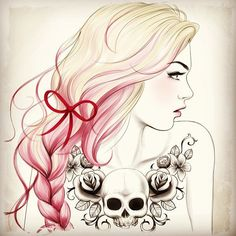 skull and roses around collar?