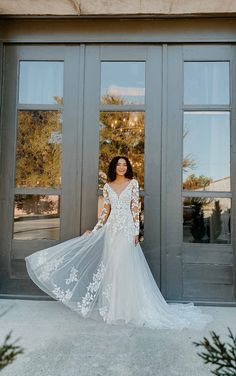 LACE LONG SLEEVE WEDDING DRESS WITH STATEMENT BACK Wedding Dress Sleeves, Long Wedding Dresses, Designer Wedding Dresses, Long Sleeve Bridal Dresses, Long Sleeve Ballgown, Gown Wedding, Wedding Dresses Stella York, Lace Bridal Gowns, Whimsical Wedding Dresses
