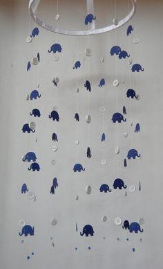 Navy Blue Elephant Mobile, Crib Mobile, Nursery Decor, Photography Prop on Etsy, $45.00