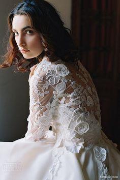 sareh nouri bridal spring 2017 strapless sweetheart ball gown wedding dress (dahlia) zbv train lace jacket