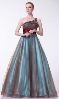 Cinderella - One Shoulder Beaded Ball Gown - Prom Dress Pick Blue Homecoming  Dresses b63e02576803