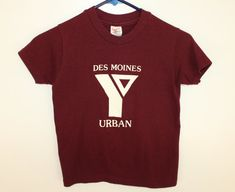 5e76fe890bf3 Des Moines Iowa Urban Y YMCA  3 vintage youth t-shirt maroon kids