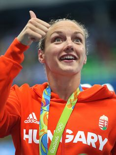 #RIO2016 - Best of Day 1 - Katinka Hosszu of Hungary reacts after winning the Women's 400m IM on Day 1 of the Rio 2016 Olympic Games at the Olympic Aquatics Stadium on August 6...
