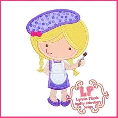Artist Cutie 2 Applique - 3 Sizes! | What's New | Machine Embroidery Designs | SWAKembroidery.com Lynnie Pinnie