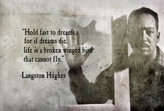 Hold fast to dreams,  for if dreams die,  life is a broken winged bird  that cannot fly.  Langston Hughes