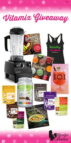 Vitamix Giveaway from @BlenderBabes! Enter to win a Vitamix w/ 3 Automatic Programs, Vega One, Navitas Superfoods, Blender Recipe Cookbooks, the 7 Day Blender Cleanse and a Blender Babes T-shirt!