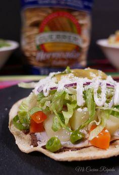 Tostadas, Tacos, Salsa Verde, Frijoles Refritos, Foods, Ethnic Recipes, Picnic Foods, Lettuce, Vegetables