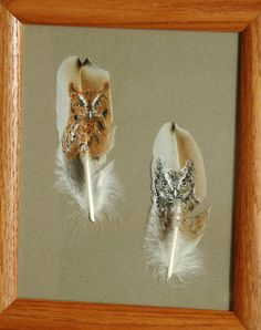 Two Screech Owls Hand Painted on Turkey by patmorrisartist on Etsy Feather Painting, Feather Art, Painted Feathers, Screech Owl, Flow Design, Turkey Feathers, Owl Art, Pebble Art, Owls