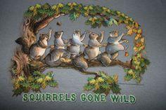 Squirrels Gone Wild Mens Large T-Shirt Dancing Squirrels Tree Nuts Bird Enemy #TheMountainBrand #GraphicTee
