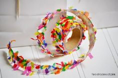 Found on: Two Shades of Pink (http://twoshadesofpink.blogspot.nl/2014/04/diy-confetti-tape.html) - Pinterested @ http://wedspiration.com.