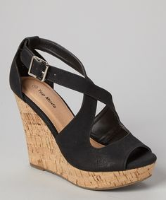 d99ca6b95692 TOP MODA Black Ella Wedge Sandal
