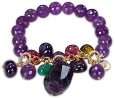 200ct TGW  Single Row Stretch Bracelet w/ 10mm Rd Faceted Amethyst Beads, Goldtone Findings, Multi Shape & Color Quartz Beads,