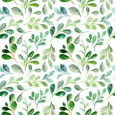 Seamless Pattern With Green Leaves Watercolor