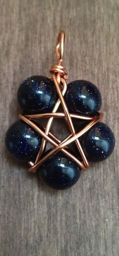 ☆ Blue Goldstone and Copper Wire Wrapped Pentagram Pendant :¦: Etsy Shop: TheSkeletonsKey ☆