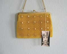 Pretty 60s Gold Beaded Bag  Vintage Yellow by BadChollaVintage