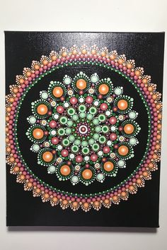 Hand Painted Mandala on Canvas, Meditation Mandala, Dot Wall Art, Wall Art, Healing, Calming, #582 by MafaStones on Etsy