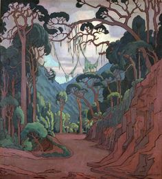 Part of the Johannesburg Railway Station panels by Jacobus Hendrik Pierneef Drawing Trees, Painting Trees, African Paintings, Art Paintings, Illustrations, Illustration Art, Landscape Art, Landscape Paintings, Nostalgic Images