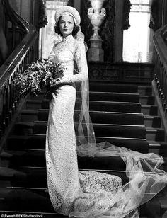 Gene Tierney, wedding dress, vintage, long sleeve, old Hollywood glamour, high collar