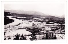 A photo postcard, which shows a panorama view of Terrace from a nearby hillside, with Skeena River at left. Photo Postcards, Vintage Postcards, British Columbia, North West, Terrace, Canada, River, Mountains, Vintage Travel Postcards