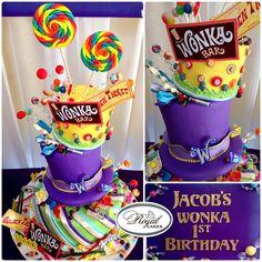 - ~Wonka World!~ Whimsical and yummy 1st Birthday Willy Wonka cake! So fun! www.RoyalCakesLA.com