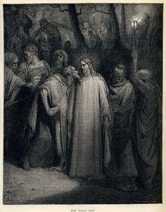 Gustave Doré - The Holy Bible - Plate CXLI, The Judas Kiss - Gustave Doré —…