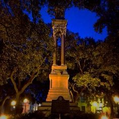 Wright Square during a haunted tour…looks so eerie the way lights are shining on the monument!