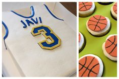 Basketball jersey cake with basketball cupcakes. 11x15 torted sheet cake covered in buttercream with fondant accents. Cupcakes topped with gumpaste basketball.