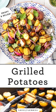 Learn how to make perfect grilled potatoes! These little guys are crispy on the outside, creamy in the middle, and filled with smoky flavor. Easy and delicious, this grilled potato recipe is a guaranteed cookout hit. | Love and Lemons #grilling #potatoes #sidedish #healthyrecipes Cookout Side Dishes, Summer Side Dishes, Grilled Potato Recipes, Grilled Food, Grilled Pizza, Grilled Zucchini, Side Dish Recipes, Dinner Recipes, Vegetarian Recipes