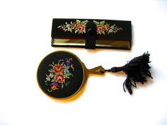 Vintage Petit Point Mirror Set Hand Mirror and Purse by Vinphemera