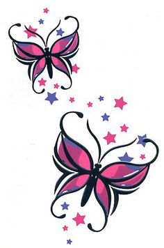 Butterfly with Stars. Neckline or Collar Tattoo
