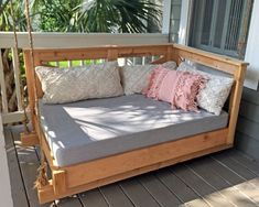 Sunbrella Custom Daybed Cushion - Porch Swing / Glider / Swing Bed - Outdoor Fabric - Crib Mattress Size - x x Cover Only Option - Sunbrella Canvas Granite Pallet Garden Furniture, Plywood Furniture, Furniture Decor, Furniture Stores, Outdoor Furniture, Furniture Projects, Antique Furniture, Modern Furniture, Furniture Design