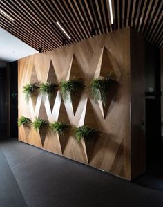 We love this structured vertical garden design the creative team put together for Something so simple yet so aesthetically appealing! Call us today to see how we can help you reinvent your space - 8288 2677 # Wall Panel Design, Lobby Design, Wall Design, Decor, Garden Design Layout, Vertical Garden Design, Door Design, Ceiling Design, Wall Deco