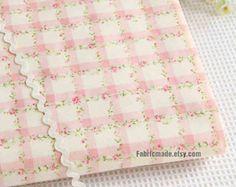 Peony Cotton Fabric Pink Peony Cream Light Beige by fabricmade