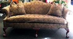 """Upholstery. This is gorgeous and in excellent condition! Back height is 39"""" t. Sofa width is 82"""". Seat height is 23"""" t. Seat depth is 22"""""""