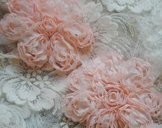 Retro Pink Fabric Flowers Wedding Dress Lace Trim Baby Girl Skirt Lace Hat Home Handbag Decor Alteration Supplies