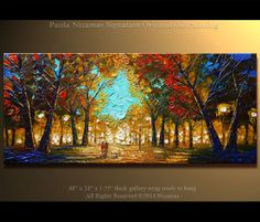 ORIGINAL Abstract Contemporary  Park Lights Oil by Artcoast, $380.00