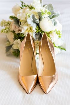 Rose gold Kate Spade pumps: www.stylemepretty... Photography: Koman