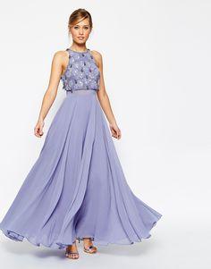 ASOS Crop Top Maxi Dress With Crystal Droplets