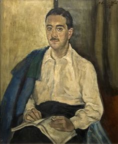 Héctor Basaldúa | Retrato de Manuel Mujica Lainez | 1942 | Óleo sobre tela | 73 x 60 cm Angel Protector, Ouroboros, Crisp White Shirt, Past, Mens Fashion, Gallery, Men's Style, Paintings, Drawing